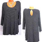 Maurices black white striped keyhole back plus size high low top 11X