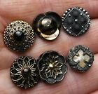 6 LIttle Black Glass Buttons with Lusters, inlay pearl, 2 with metal loop shanks