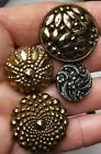 4 Gorgeous Black Glass  Buttons with gold and Silver Lusters, 1 1/16 inch!