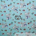 BonEful FABRIC Cotton Blue White B&W Bunny Rabbit Red Mushroom Bird Easter SCRAP