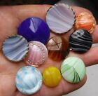 10 Gorgeous Striped Glass Buttons, some with lusters too,  7/8 inch  is largest.