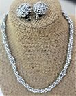 Vinttage Signed Marvella Silver Bead Choker Necklace And Clip Earring Set