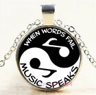 Yin Yang Musical Note Cabochon Silver Bronze Black Gold Glass Chain Necklace