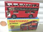 Lesney Matchbox MB17B 1972 MUSEUM OF LONDON Red The LONDONER Bus BLACK Base MiB