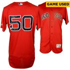 MOOKIE BETTS Autographed Game-Used (4 27 18) Boston Red Sox Red Jersey FANATICS