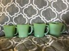 4 Vintage Fire King Green Jadeite D Handle Coffee Cup Mugs Oven Ware!