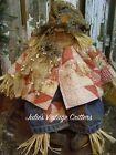 PRIMITIVE FALL SCARECROW DOLL, ANTIQUE QUILT, OLD JEANS,FOLK ART SCARECROW DOLL