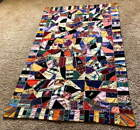 Colorful Antique Crazy Quilt -- 66 by 43 inches, some embroidery