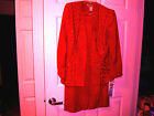 Women 2 PC Holiday Lng skirt Midnight Velvet bead jackt faux dicky red sz 10 NWT