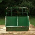 Primitive Style Metal Divided Hanging File Box With Old Green Paint