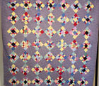 UNIQUE DOUBLE NINE PATCH QUILT GREAT FABRIC CLEAN HAND QUILTED 74