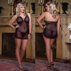 Sexy Plus Size Lingerie One Size Queen Black Babydoll w/ Polka Dots DG8010X