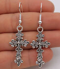 925 Silver Plated Hook - 2.1'' Flower Crosss Curly Retro Silver Club Earrings#04