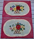Pair Of Antique Flower Basket Pattern Hand Hooked Rugs 23
