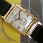 Mens MINT 1940s Gruen Curvex 14K SOLID GOLD Constellation Faceted 440 Cal. Watch