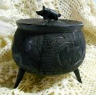 Antique Irish Black Bog Oak Hand Carved Pot Cauldron Shamrocks Harp Dog Pig Lid