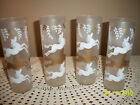 Set/4 Mid Century Libbey Frosted Tom Collins Ice Tea Glasses Cavalade Unicorn