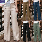 US Women Linen Cotton Wide Leg Pants Casual Harem Pants High Waist Loose Trouser