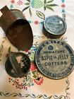 Vtg Antique Tin Miniature Cookie Cutters For Aspic Or Jelly Primitive + 2 Scoops