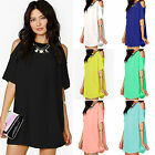 Women's Ladies Summer Chiffon Blouse Solid Tops Party Dress Clothes Plus Size