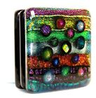 Dichroic Fused Art Glass SQUARE Paperweight Free Standing Signed FREE Gift Bag