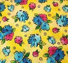 Xanadu BTY Studio 8 Quilting Treasures Bright Floral Pink Blue Green on Yellow