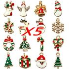 5pcs Gold Plated Enamel Christmas Gifts Charms Tree Deer Snowflake Pendant NEW