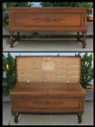 Vintage Walnut COLONIAL Red Cedar CHEST Blanket Bench Key Lock Removed Included