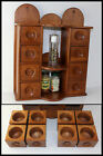 Rare Musuem Piece Handmade Wood 8 Drawer Apothecary Spice Wall Cabinet Box OLD