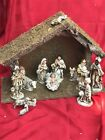 Vintage Hand Painted Nativity Wood Manger Creche Made in Japan 14 Pieces