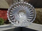 Antique ENGLISH Swirl Crystal Glass Pedestal CAKE STAND Tea Pastry Footed Plate