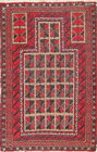 Antique Geometric Tribal 3x5 Balouch Afghan Afghanistan Oriental Area Rug Wool