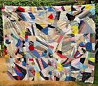 UNUSED Vintage American GORGEOUS Patchwork Block Crazy QUILT TOP Size 90