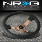 NRG 350MM 3DEEP DISH ROSE GOLD SPOKE LEATHER HANDLE RED STITCH STEERING WHEEL