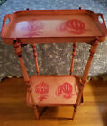 Vintage Neoclassical Two Tier Italian Tole Tray Table Hot Air Balloon Folding
