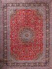 Vintage Hand Knotted Floral Red 10x13 Kashmar Persian Oriental Area Rug