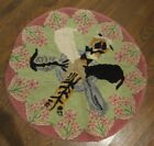 Vintage Round Folk Art Wool Hooked Rug Kitten Cats Bowl of Milk Whimsical Lovely