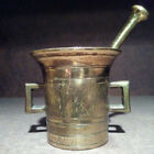 Antique 1800's 19th Century Heavy Brass Mortar And Pestle Pharmaceutical