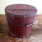 Antique Painted Large Wooden Covered Bucket Brown Exterior