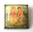 BB Antique Transfer on Celluloid Button Square Shape Couple Scene - 1