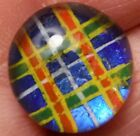 Red/Blue/Yellow plaid Kaleidoscope Button, 9/16 inch.