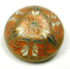 Antique French Enamel Button 3 Moth Design Dome Nice! 7/8