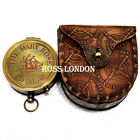 ROSS LONDON Antiqued Brass Poem Compass with Leather Case Nautical Home Decor