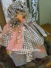 PRIMITIVE FALL SNOWMAN DOLL,OLD QUILT TOP, OLD PHOTO,FALL FOLK ART SNOWMAN DOLL