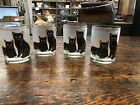 VINTAGE GOLD TRIM BLACK CAT FROSTED DRINKING GLASSES SET OF 4