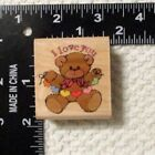 Rubber Stampede 1991 I Love You Heart Banner Bear Mounted Rubber Stamp NEW