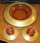 Tiffin Pink Depression Glass Gold Encrusted 3 Piece Console Set MINT