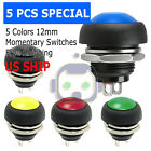5X Color M4 12mm Waterproof Momentary ON OFF Push Button Round SPST Switch