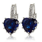 Womens White Gold Plated Sapphire Blue Rhinestone Heart Leverback Earrings Ture