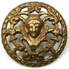 Antique Pierced Brass Dome Button Woman in Elizabethan Collar Image - 1
